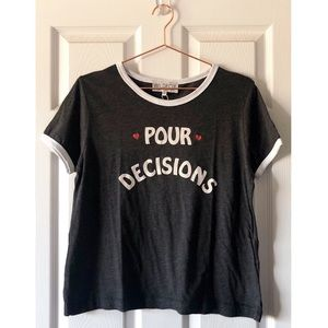 NEW Wildfox Pour Decisions Ringer Tee Size L